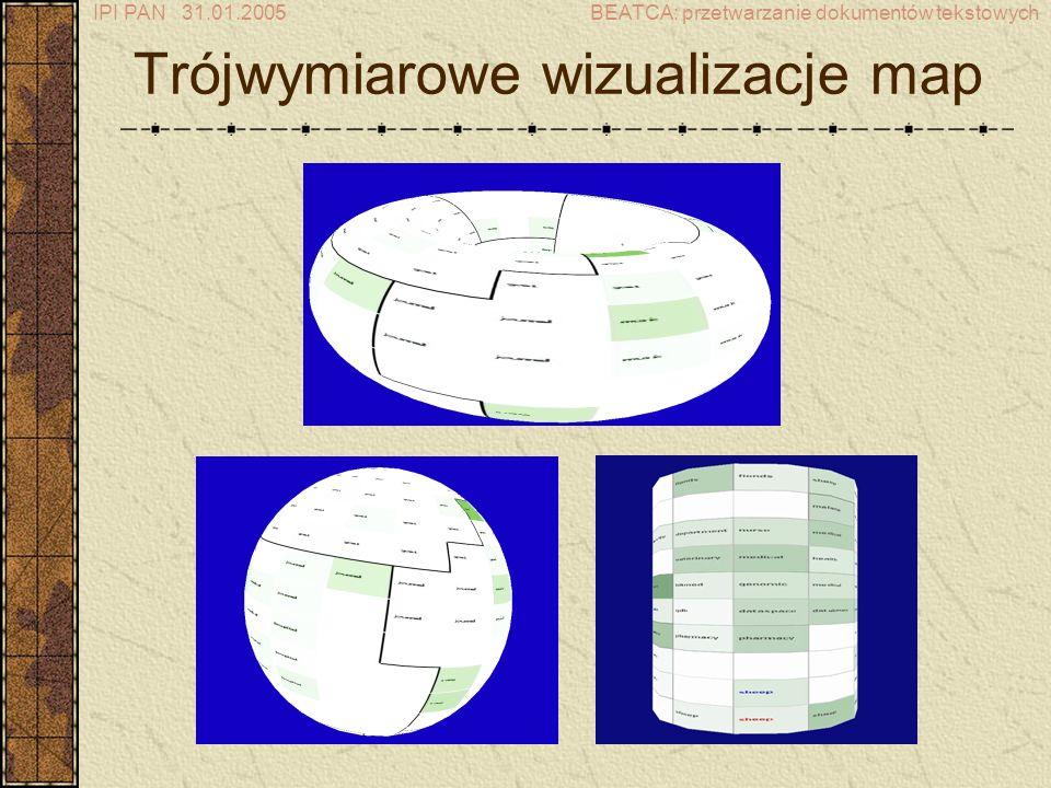 IPI PAN 31.01.2005BEATCA: przetwarzanie dokumentów tekstowych Trójwymiarowe wizualizacje map