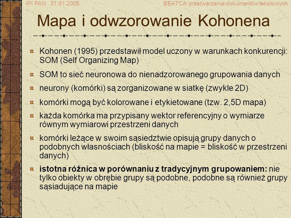 IPI PAN 31.01.2005BEATCA: przetwarzanie dokumentów tekstowych Mapa i odwzorowanie Kohonena Kohonen (1995) przedstawił model uczony w warunkach konkurencji: SOM (Self Organizing Map) SOM to sieć neuronowa do nienadzorowanego grupowania danych neurony (komórki) są zorganizowane w siatkę (zwykle 2D) komórki mogą być kolorowane i etykietowane (tzw.