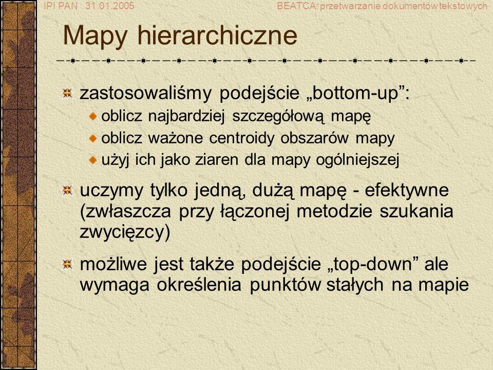 IPI PAN 31.01.2005BEATCA: przetwarzanie dokumentów tekstowych Mapy hierarchiczne zastosowaliśmy podejście bottom-up: oblicz najbardziej szczegółową mapę oblicz ważone centroidy obszarów mapy użyj ich jako ziaren dla mapy ogólniejszej uczymy tylko jedną, dużą mapę - efektywne (zwłaszcza przy łączonej metodzie szukania zwycięzcy) możliwe jest także podejście top-down ale wymaga określenia punktów stałych na mapie