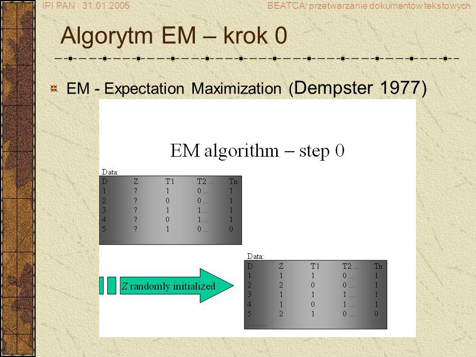 IPI PAN 31.01.2005BEATCA: przetwarzanie dokumentów tekstowych Algorytm EM – krok 0 EM - Expectation Maximization ( Dempster 1977)