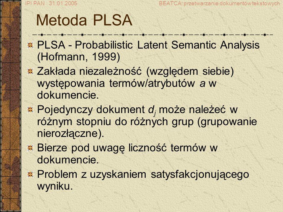 IPI PAN 31.01.2005BEATCA: przetwarzanie dokumentów tekstowych Metoda PLSA PLSA - Probabilistic Latent Semantic Analysis (Hofmann, 1999) Zakłada niezależność (względem siebie) występowania termów/atrybutów a w dokumencie.
