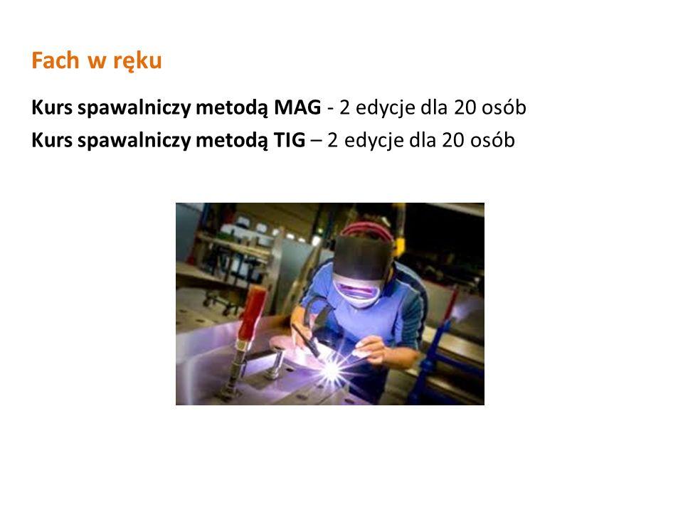 Fach w ręku Kurs spawalniczy metodą MAG - 2 edycje dla 20 osób Kurs spawalniczy metodą TIG – 2 edycje dla 20 osób