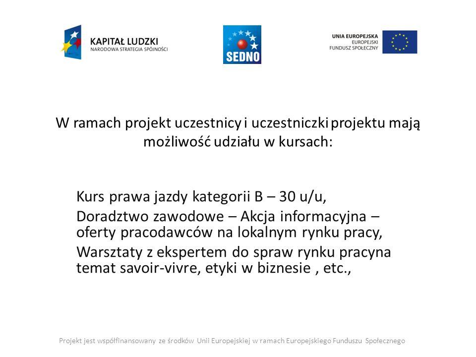 W ramach projekt uczestnicy i uczestniczki projektu mają możliwość udziału w kursach: Kurs prawa jazdy kategorii B – 30 u/u, Doradztwo zawodowe – Akcja informacyjna – oferty pracodawców na lokalnym rynku pracy, Warsztaty z ekspertem do spraw rynku pracyna temat savoir-vivre, etyki w biznesie, etc., Projekt jest współfinansowany ze środków Unii Europejskiej w ramach Europejskiego Funduszu Społecznego
