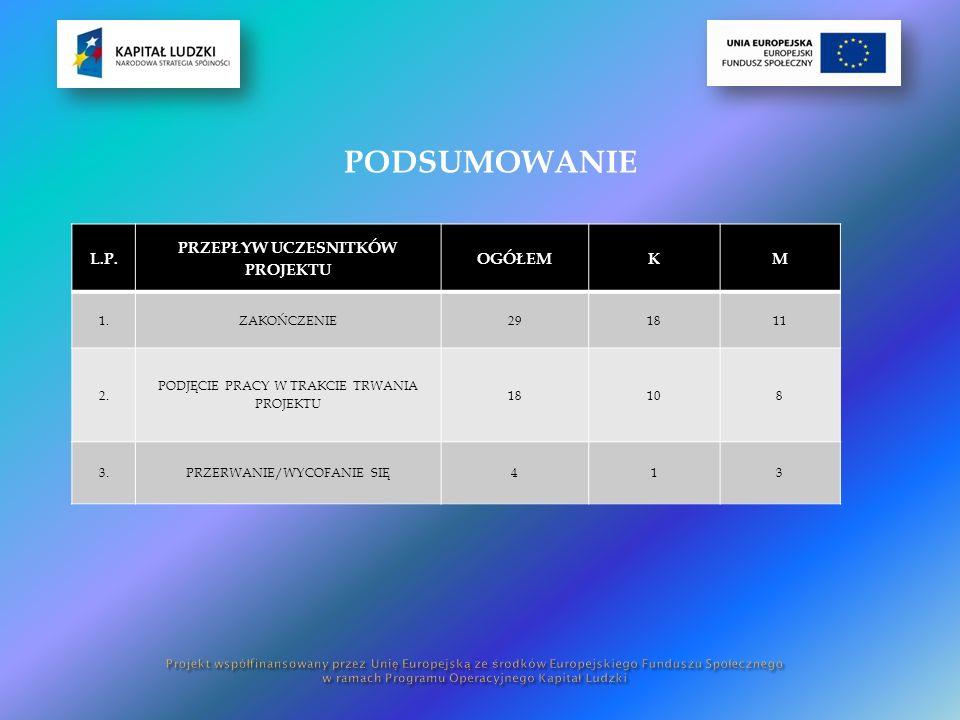 PODSUMOWANIE L.P. PRZEPŁYW UCZESNITKÓW PROJEKTU OGÓŁEMKM 1.ZAKOŃCZENIE291811 2.