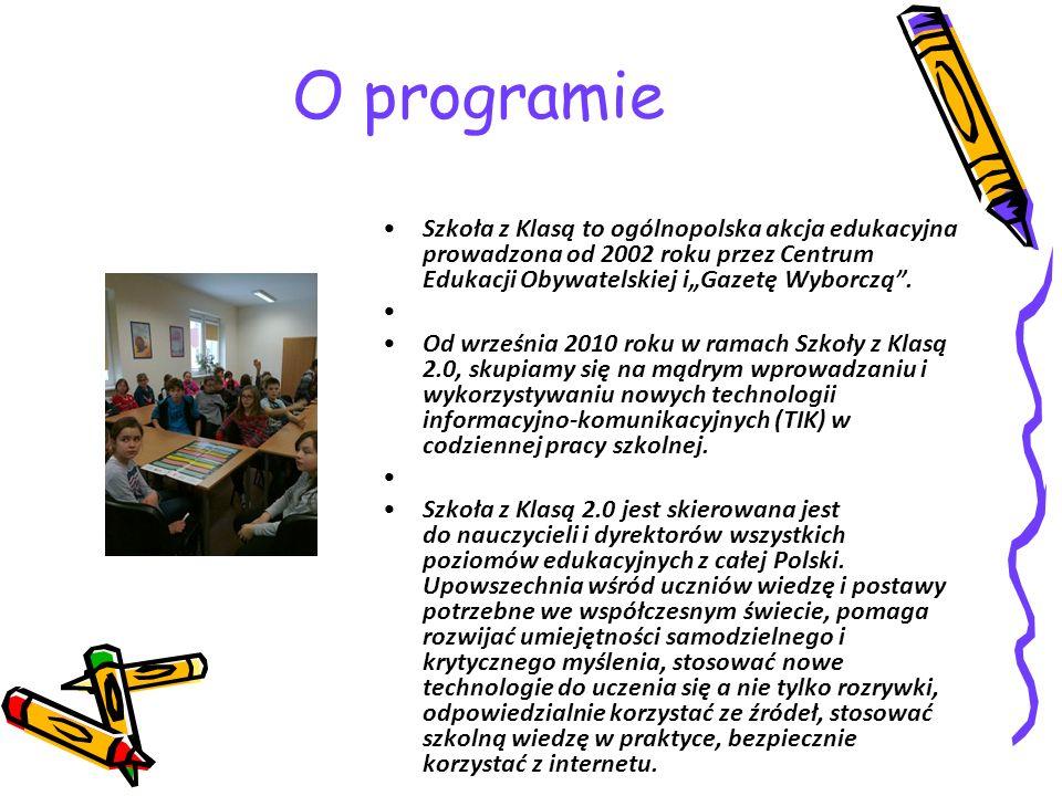 O programie Szkoła z Klasą to ogólnopolska akcja edukacyjna prowadzona od 2002 roku przez Centrum Edukacji Obywatelskiej iGazetę Wyborczą.