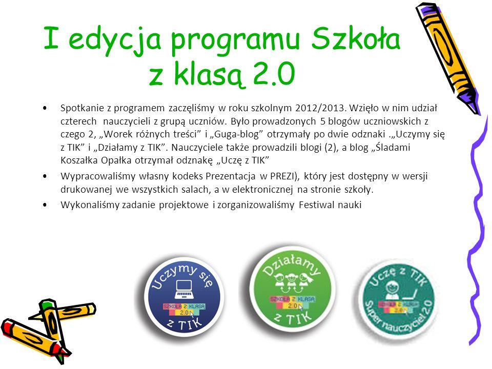 I edycja programu Szkoła z klasą 2.0 Spotkanie z programem zaczęliśmy w roku szkolnym 2012/2013. Wzięło w nim udział czterech nauczycieli z grupą uczn