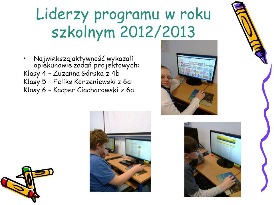 Liderzy programu w roku szkolnym 2012/2013 Największą aktywność wykazali opiekunowie zadań projektowych: Klasy 4 – Zuzanna Górska z 4b Klasy 5 – Felik