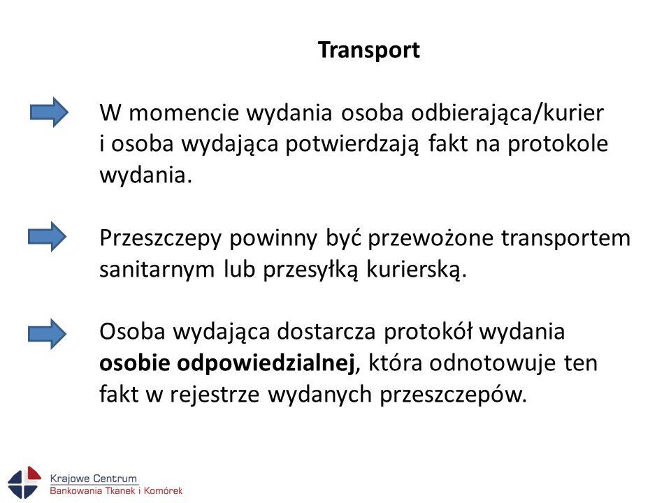 Transport W momencie wydania osoba odbierająca/kurier i osoba wydająca potwierdzają fakt na protokole wydania.