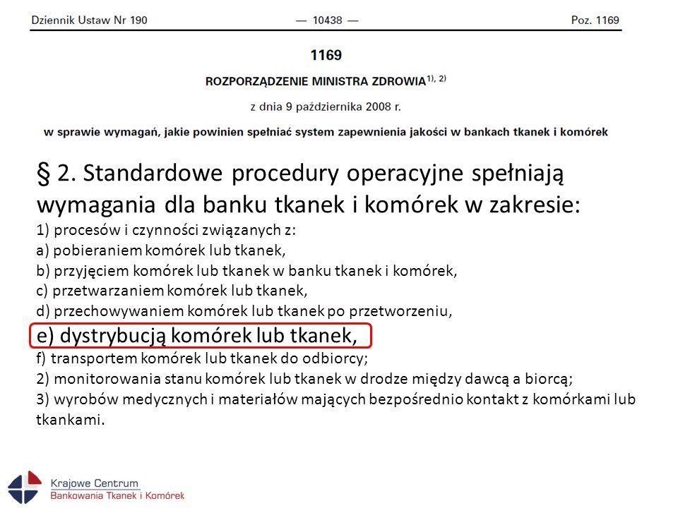 § 2. Standardowe procedury operacyjne spełniają wymagania dla banku tkanek i komórek w zakresie: 1) procesów i czynności związanych z: a) pobieraniem