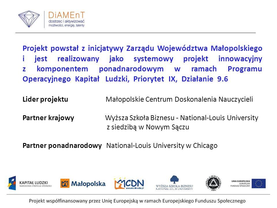 Projekt współfinansowany przez Unię Europejską w ramach Europejskiego Funduszu Społecznego Projekt powstał z inicjatywy Zarządu Województwa Małopolski