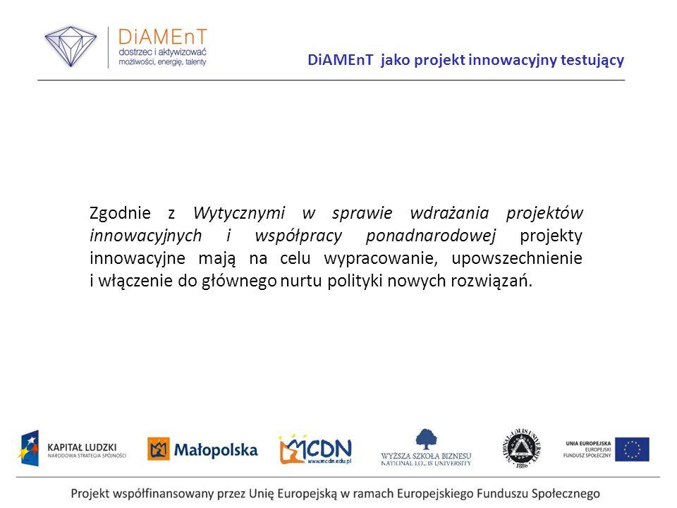 Projekt współfinansowany przez Unię Europejską w ramach Europejskiego Funduszu Społecznego Zgodnie z Wytycznymi w sprawie wdrażania projektów innowacy
