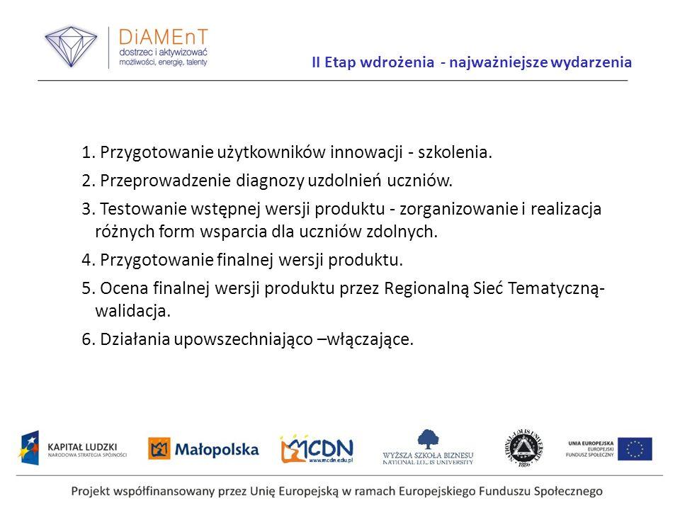 Projekt współfinansowany przez Unię Europejską w ramach Europejskiego Funduszu Społecznego II Etap wdrożenia - najważniejsze wydarzenia 1. Przygotowan
