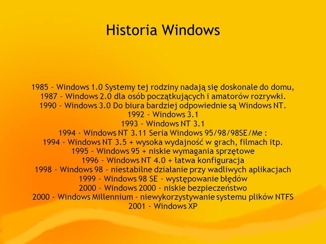 Historia Windows 1985 - Windows 1.0 Systemy tej rodziny nadają się doskonale do domu, 1987 - Windows 2.0 dla osób początkujących i amatorów rozrywki.