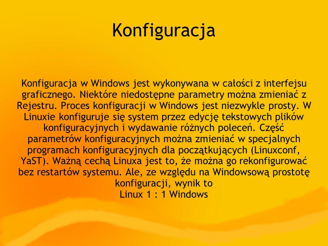 Konfiguracja Konfiguracja w Windows jest wykonywana w całości z interfejsu graficznego. Niektóre niedostępne parametry można zmieniać z Rejestru. Proc