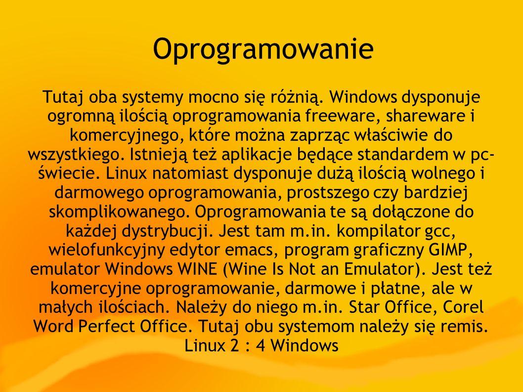 Oprogramowanie Tutaj oba systemy mocno się różnią. Windows dysponuje ogromną ilością oprogramowania freeware, shareware i komercyjnego, które można za