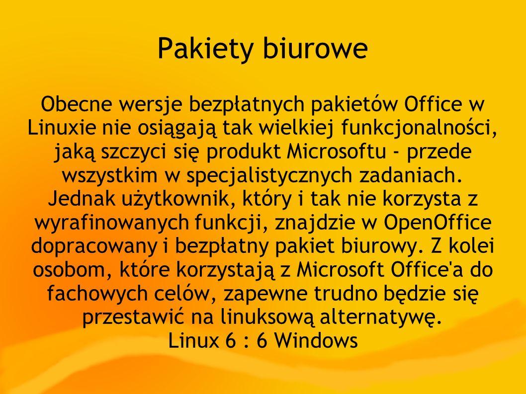 Pakiety biurowe Obecne wersje bezpłatnych pakietów Office w Linuxie nie osiągają tak wielkiej funkcjonalności, jaką szczyci się produkt Microsoftu - przede wszystkim w specjalistycznych zadaniach.