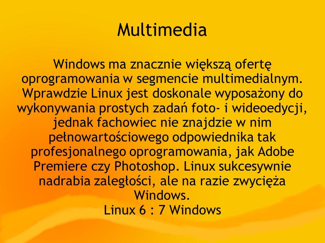Multimedia Windows ma znacznie większą ofertę oprogramowania w segmencie multimedialnym. Wprawdzie Linux jest doskonale wyposażony do wykonywania pros