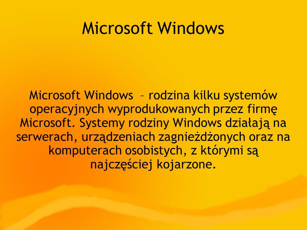 Microsoft Windows Microsoft Windows – rodzina kilku systemów operacyjnych wyprodukowanych przez firmę Microsoft.