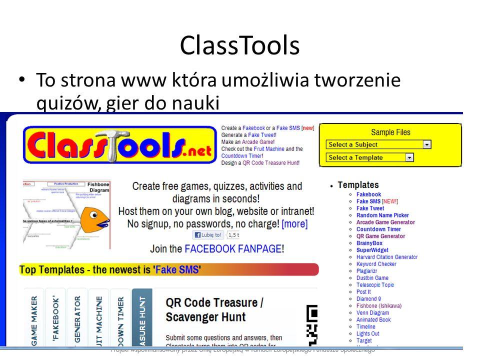 To strona www która umożliwia tworzenie quizów, gier do nauki