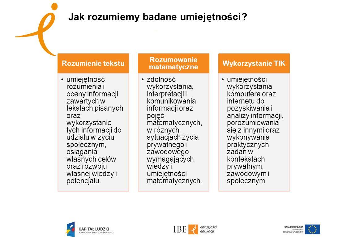 Jak rozumiemy badane umiejętności? Rozumienie tekstu umiejętność rozumienia i oceny informacji zawartych w tekstach pisanych oraz wykorzystanie tych i