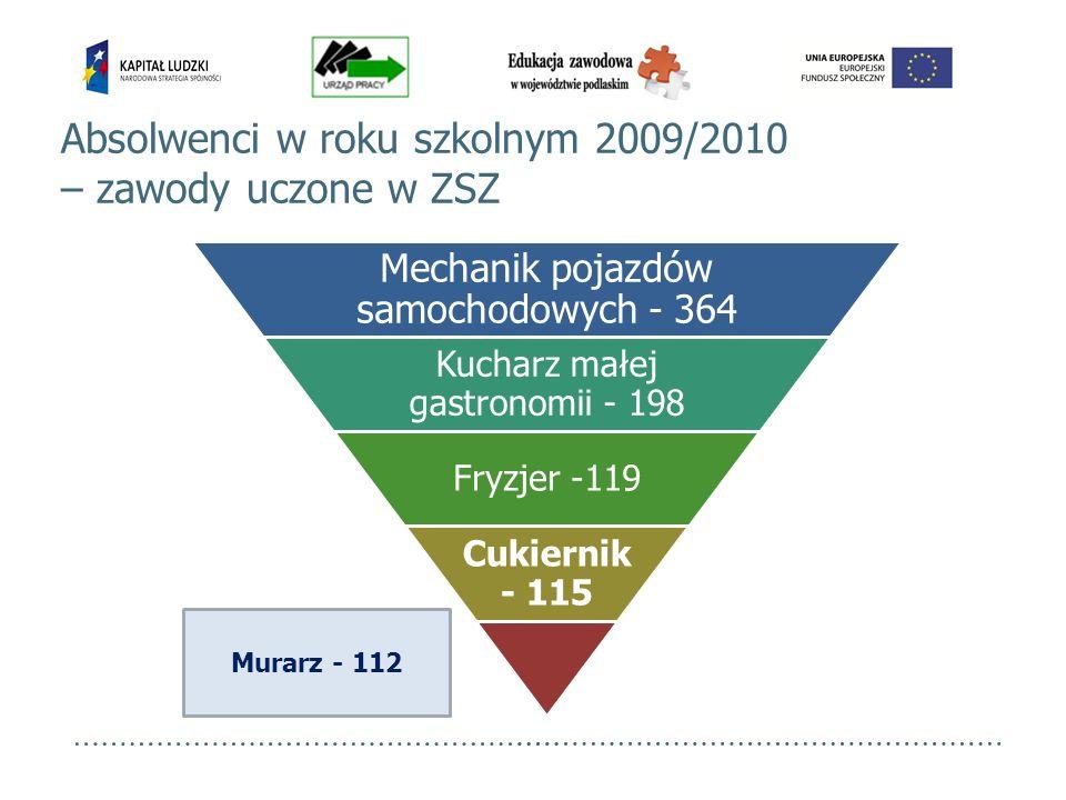 Murarz - 112 Absolwenci w roku szkolnym 2009/2010 – zawody uczone w ZSZ Mechanik pojazdów samochodowych - 364 Kucharz małej gastronomii - 198 Fryzjer