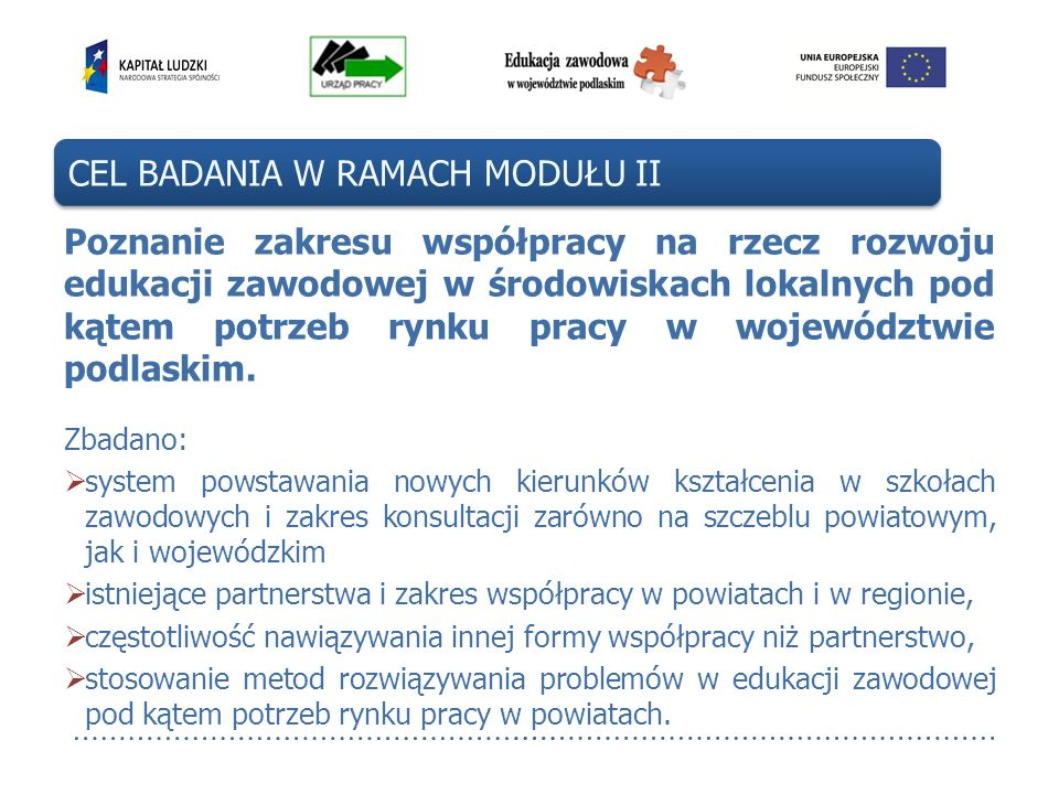 Poznanie zakresu współpracy na rzecz rozwoju edukacji zawodowej w środowiskach lokalnych pod kątem potrzeb rynku pracy w województwie podlaskim. Zbada