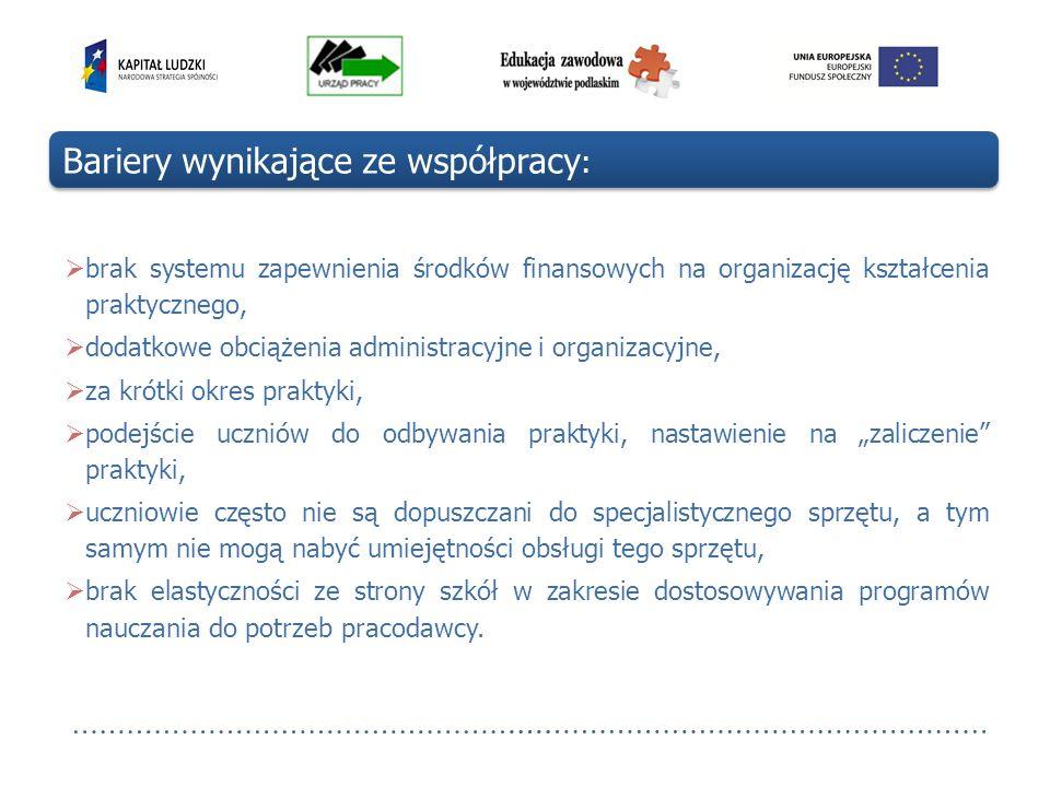 brak systemu zapewnienia środków finansowych na organizację kształcenia praktycznego, dodatkowe obciążenia administracyjne i organizacyjne, za krótki