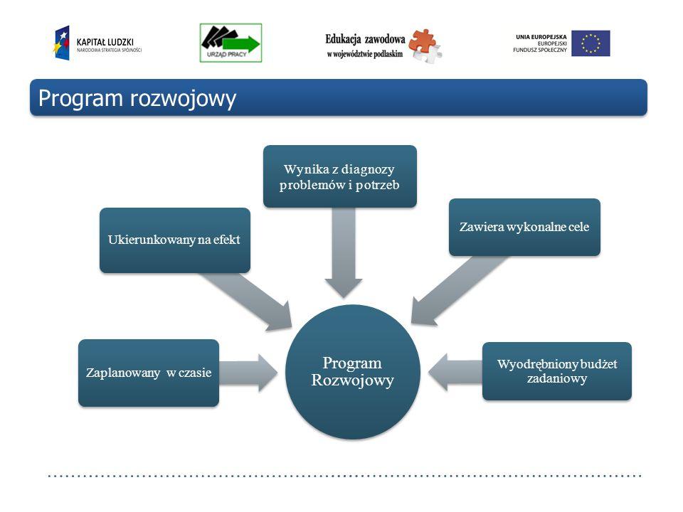 Program Rozwojowy Zaplanowany w czasie Ukierunkowany na efekt Wynika z diagnozy problemów i potrzeb Zawiera wykonalne cele Wyodrębniony budżet zadanio