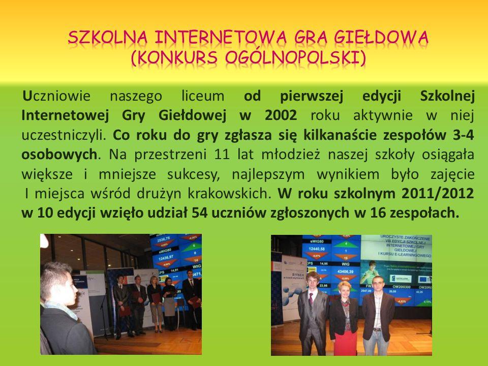 Uczniowie naszego liceum od pierwszej edycji Szkolnej Internetowej Gry Giełdowej w 2002 roku aktywnie w niej uczestniczyli. Co roku do gry zgłasza się