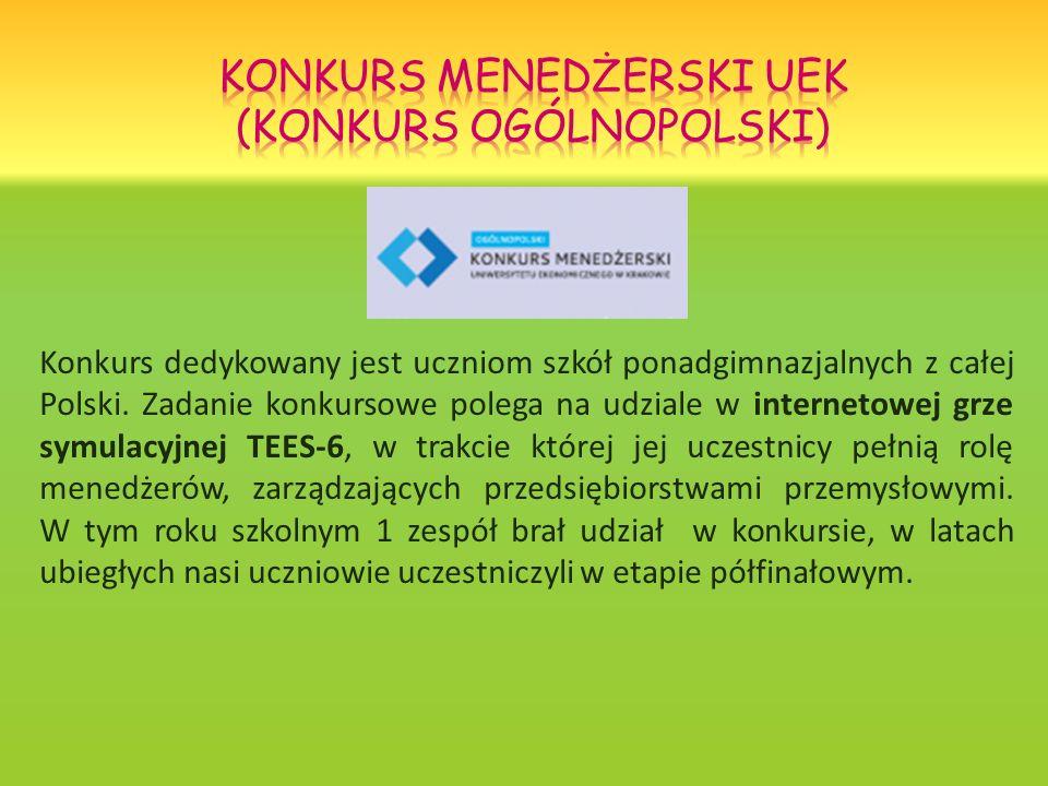 Konkurs dedykowany jest uczniom szkół ponadgimnazjalnych z całej Polski. Zadanie konkursowe polega na udziale w internetowej grze symulacyjnej TEES-6,