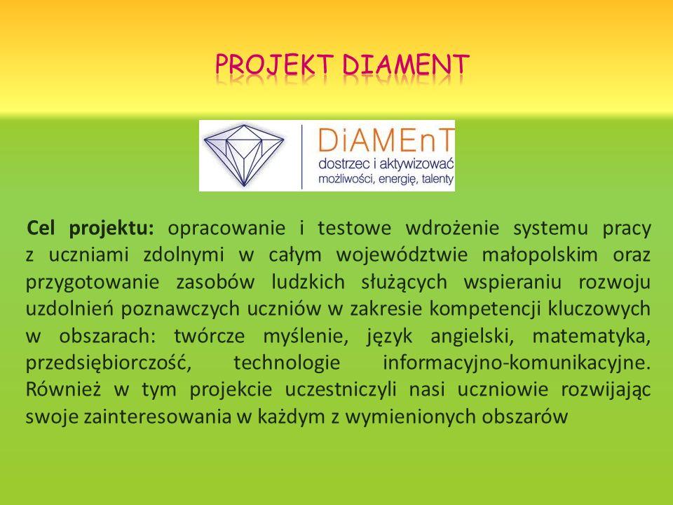 Cel projektu: opracowanie i testowe wdrożenie systemu pracy z uczniami zdolnymi w całym województwie małopolskim oraz przygotowanie zasobów ludzkich s