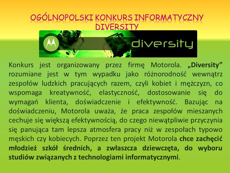 Konkurs jest organizowany przez firmę Motorola. Diversity rozumiane jest w tym wypadku jako różnorodność wewnątrz zespołów ludzkich pracujących razem,