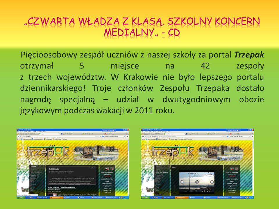 Pięcioosobowy zespół uczniów z naszej szkoły za portal Trzepak otrzymał 5 miejsce na 42 zespoły z trzech województw. W Krakowie nie było lepszego port