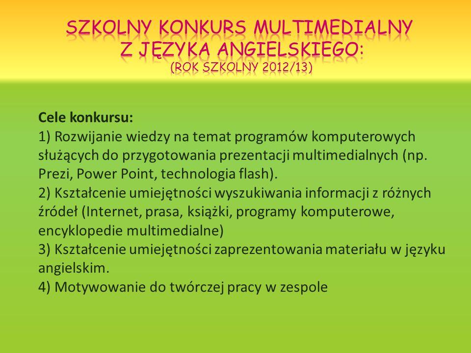 Cele konkursu: 1) Rozwijanie wiedzy na temat programów komputerowych służących do przygotowania prezentacji multimedialnych (np. Prezi, Power Point, t