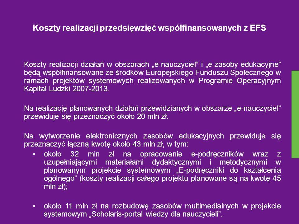 Koszty realizacji przedsięwzięć współfinansowanych z EFS Koszty realizacji działań w obszarach e-nauczyciel i e-zasoby edukacyjne będą współfinansowan