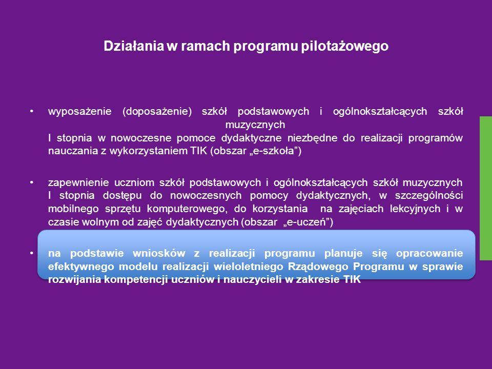 Działania programu pilotażowego W ramach programu pilotażowego szkoły podstawowe, za pośrednictwem organów prowadzących będą mogły aplikować do wojewodów o wsparcie finansowe w formie dotacji celowej z przeznaczeniem na zakup nowoczesnych pomocy dydaktycznych i innego sprzętu niezbędnego do realizacji programów nauczania z wykorzystaniem technologii informacyjno-komunikacyjnych (lista pomocy, które będą mogły zostać zakupione w ramach udzielonej dotacji została określona w programie).