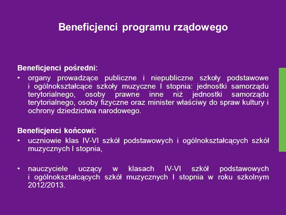 Beneficjenci programu rządowego Beneficjenci pośredni: organy prowadzące publiczne i niepubliczne szkoły podstawowe i ogólnokształcące szkoły muzyczne