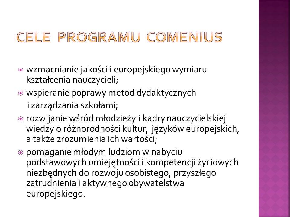 wzmacnianie jakości i europejskiego wymiaru kształcenia nauczycieli; wspieranie poprawy metod dydaktycznych i zarządzania szkołami; rozwijanie wśród młodzieży i kadry nauczycielskiej wiedzy o różnorodności kultur, języków europejskich, a także zrozumienia ich wartości; pomaganie młodym ludziom w nabyciu podstawowych umiejętności i kompetencji życiowych niezbędnych do rozwoju osobistego, przyszłego zatrudnienia i aktywnego obywatelstwa europejskiego.