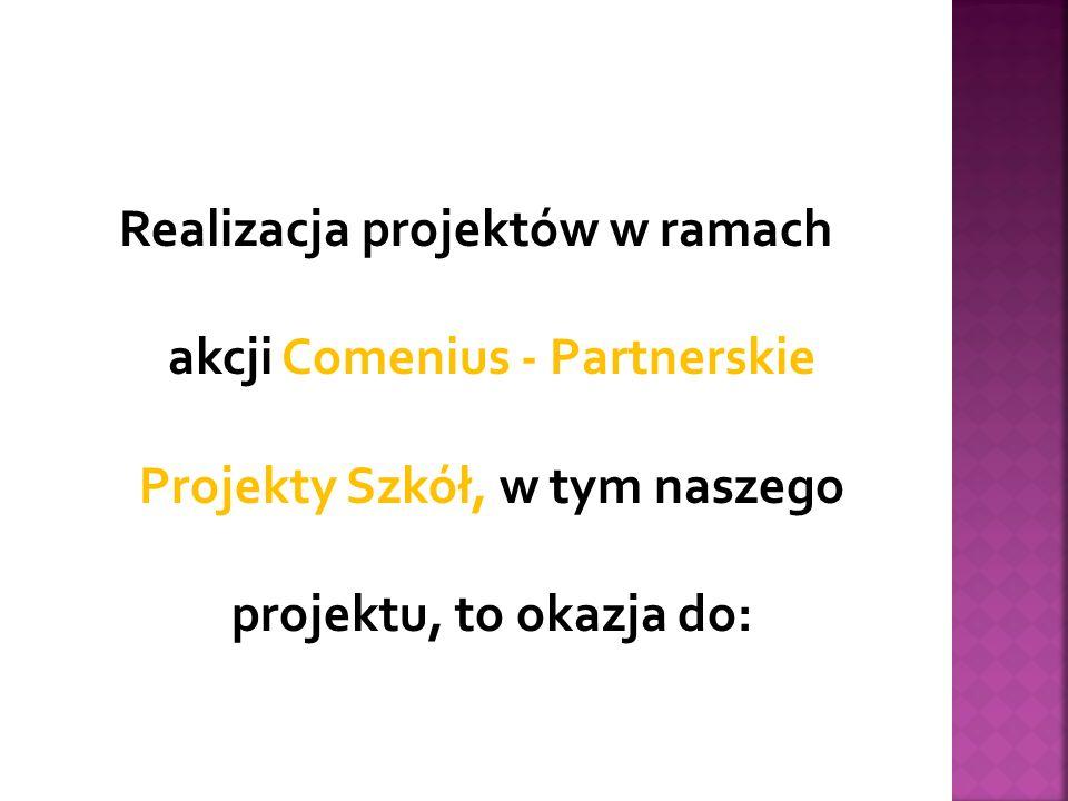Realizacja projektów w ramach akcji Comenius - Partnerskie Projekty Szkół, w tym naszego projektu, to okazja do: