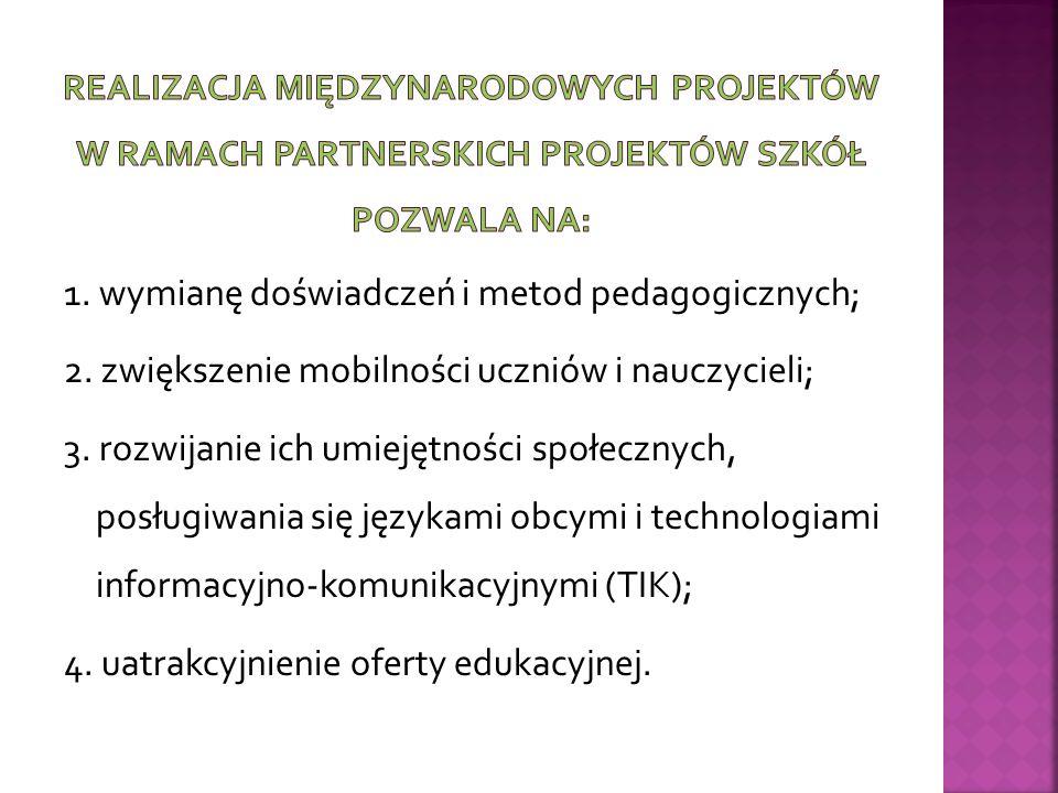 1. wymianę doświadczeń i metod pedagogicznych; 2.