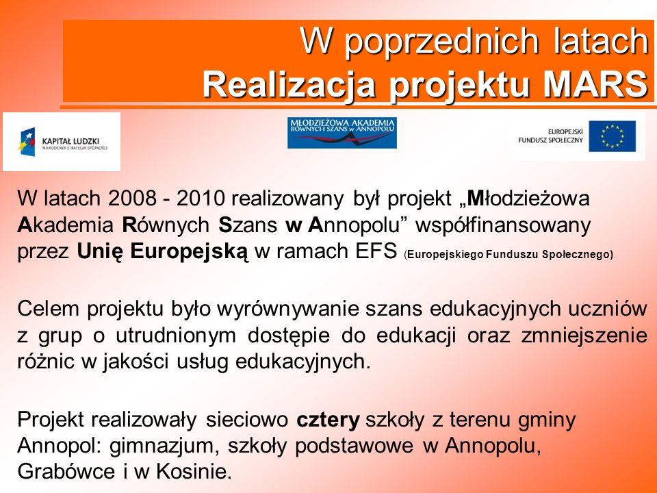 W poprzednich latach Realizacja projektu MARS W latach 2008 - 2010 realizowany był projekt Młodzieżowa Akademia Równych Szans w Annopolu współfinansow