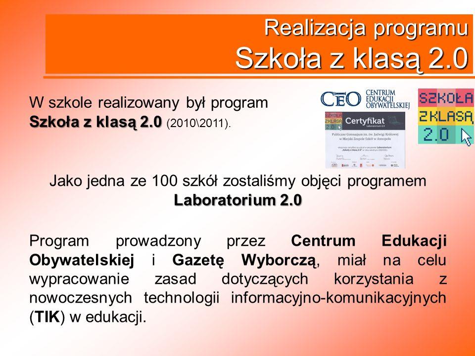 Realizacja programu Szkoła z klasą 2.0 Program prowadzony przez Centrum Edukacji Obywatelskiej i Gazetę Wyborczą, miał na celu wypracowanie zasad doty