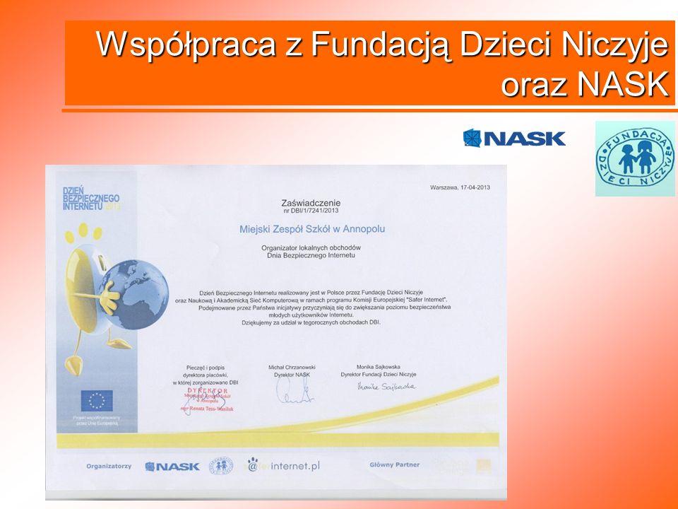 Współpraca z Fundacją Dzieci Niczyje oraz NASK