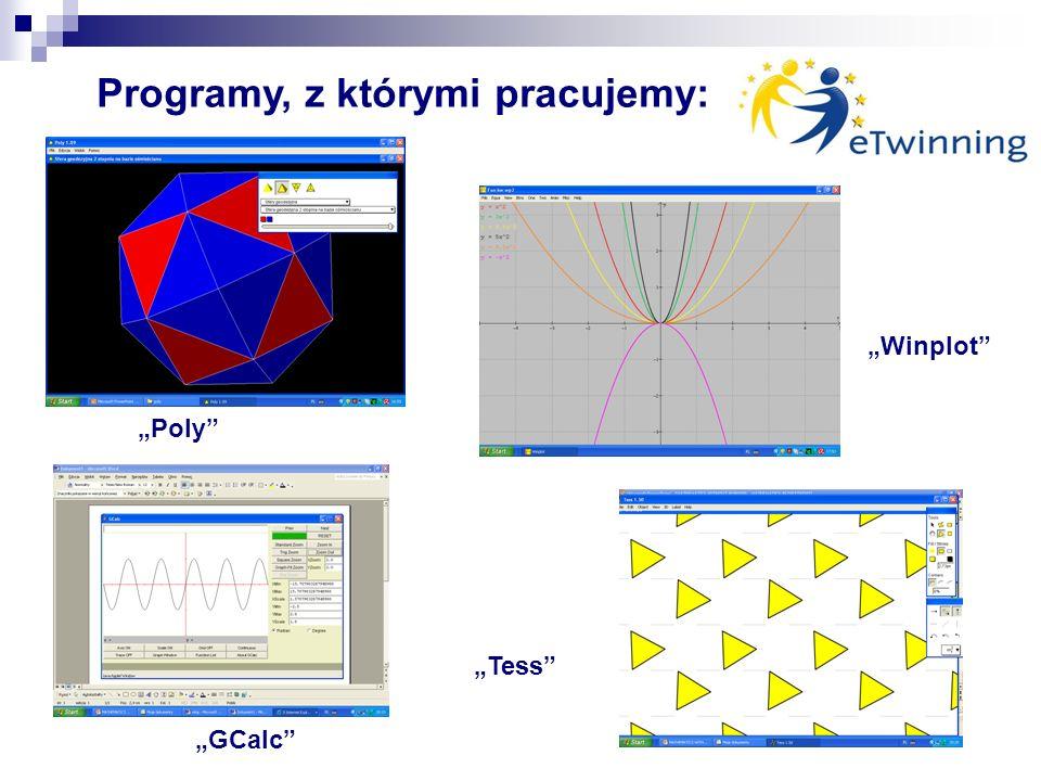 Winplot GCalc Tess Poly Programy, z którymi pracujemy: