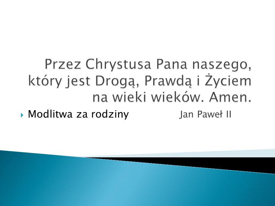 Jan Paweł II Modlitwa za rodziny