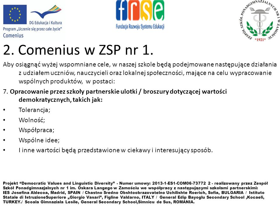 2. Comenius w ZSP nr 1.