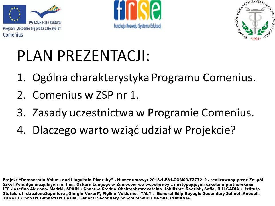 PLAN PREZENTACJI: 1.Ogólna charakterystyka Programu Comenius. 2.Comenius w ZSP nr 1. 3.Zasady uczestnictwa w Programie Comenius. 4.Dlaczego warto wzią