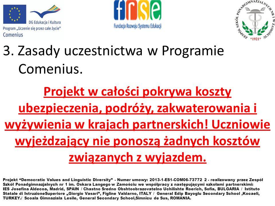 3. Zasady uczestnictwa w Programie Comenius.