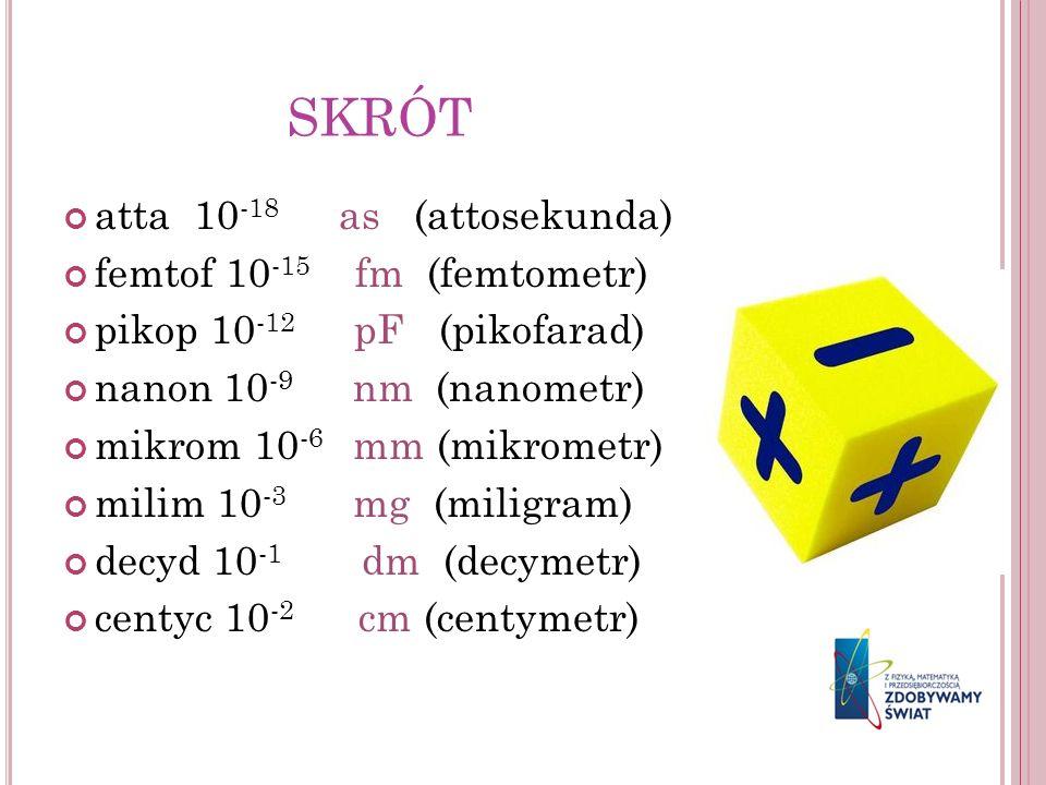 SKRÓT atta 10 -18 as (attosekunda) femtof 10 -15 fm (femtometr) pikop 10 -12 pF (pikofarad) nanon 10 -9 nm (nanometr) mikrom 10 -6 mm (mikrometr) mili
