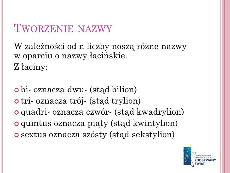 T WORZENIE NAZWY W zależności od n liczby noszą różne nazwy w oparciu o nazwy łacińskie. Z łaciny: bi- oznacza dwu- (stąd bilion) tri- oznacza trój- (